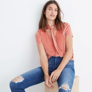 Like new pink velvet Madewell top with tie details